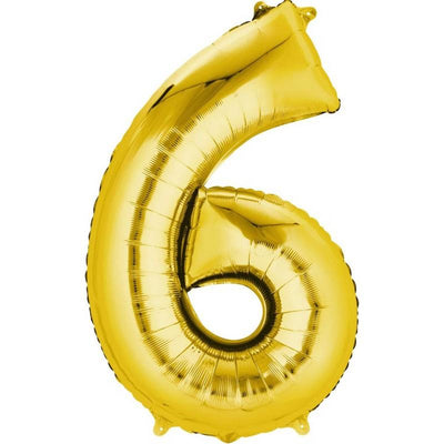 Ci Number 6 Shaped Foil Balloon 40cm Gold