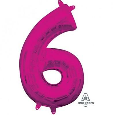 Ci Number 6 Shaped Foil Balloon 40cm Pink