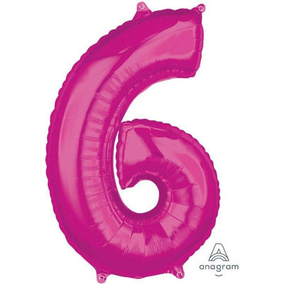 Number 6 Mid Size Shaped Foil Balloon 66cm Pink