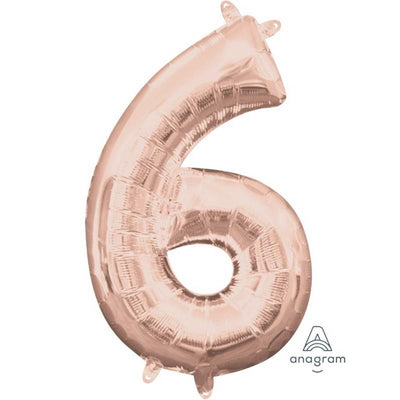 Ci Number 6 Shaped Foil Balloon 40cm Rose Gold