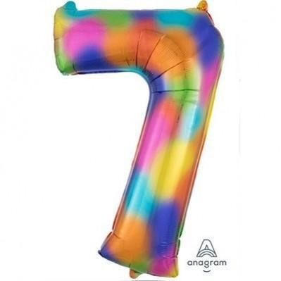 Number 7 Supershape Shaped Foil Balloon 86cm Rainbow