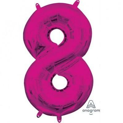Ci Number 8 Shaped Foil Balloon 40cm Pink