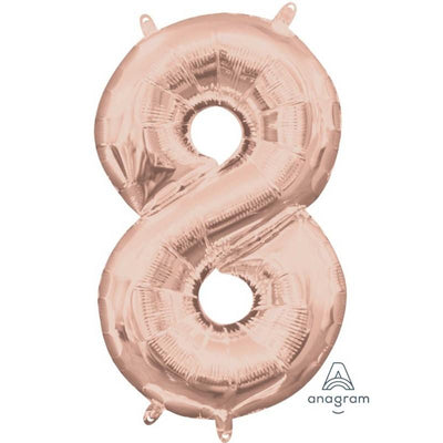 Ci Number 8 Shaped Foil Balloon 40cm Rose Gold