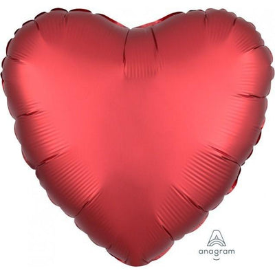45cm Satin Luxe Heart Foil Balloon Sangria Red