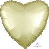 45cm Satin Luxe Heart Foil Balloon Pastel Yellow