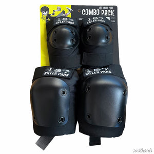 187 Knee Elbow Pads Combo Pack Black