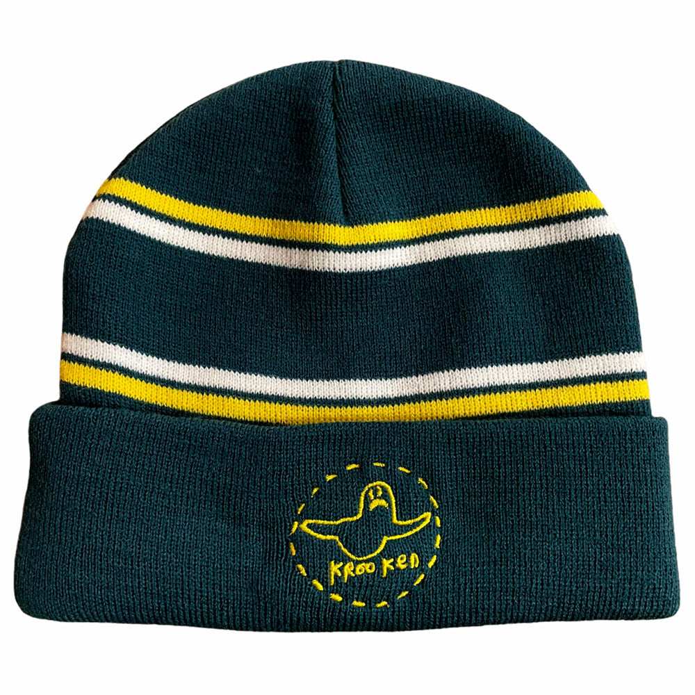 Krooked Beanie Trinity Cuff Green Yellow White