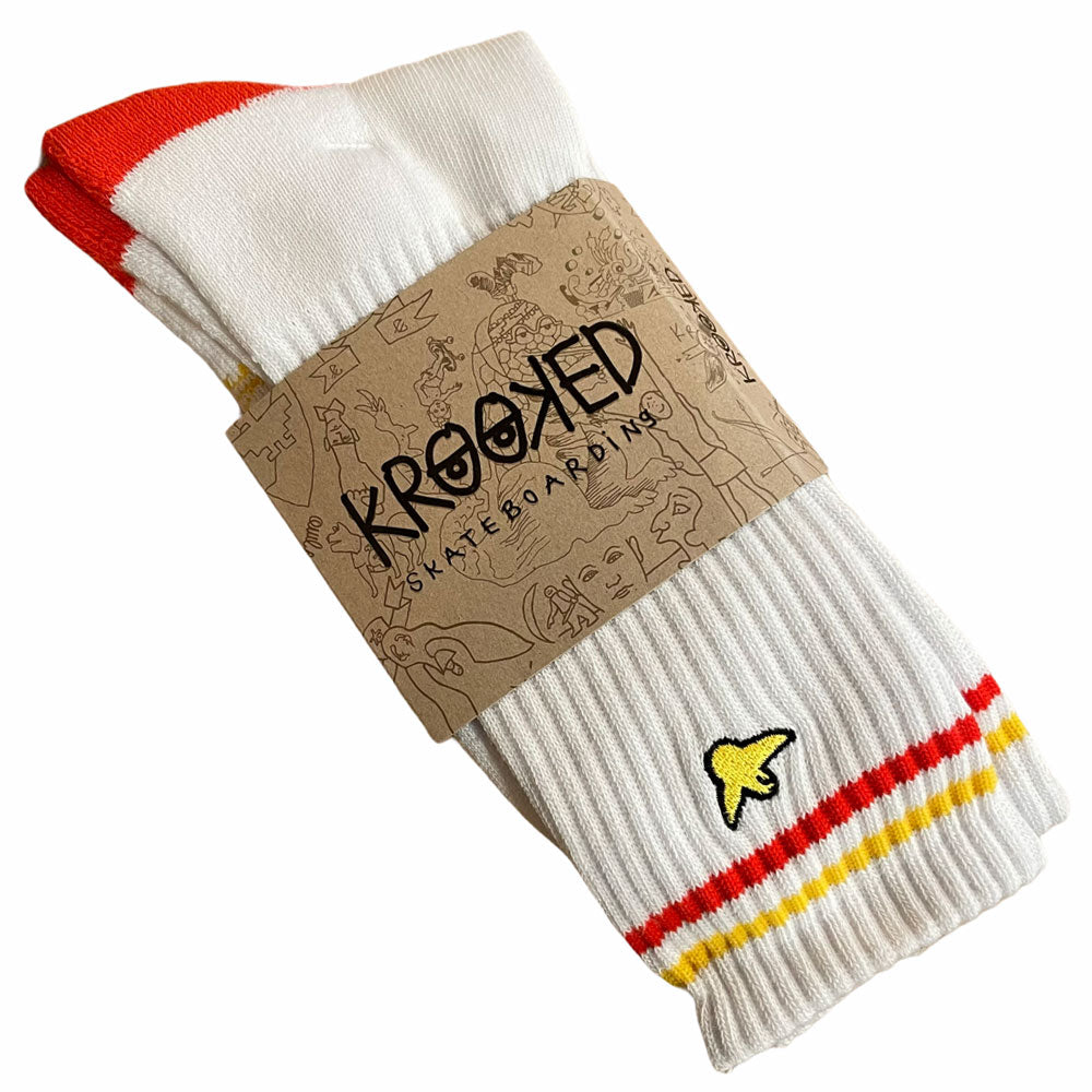 Krooked Socks Bird White Red White