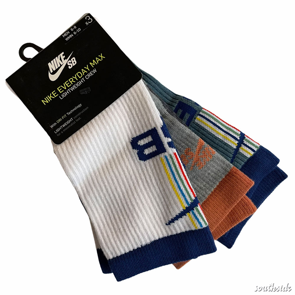 Nike SB Socks Crew 3 Pack Multi White Heather Grey Stripe