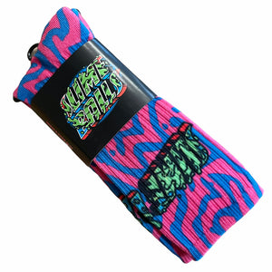 Slime Balls Socks Greetings From Pink Blue Size 9-11 1 Pair