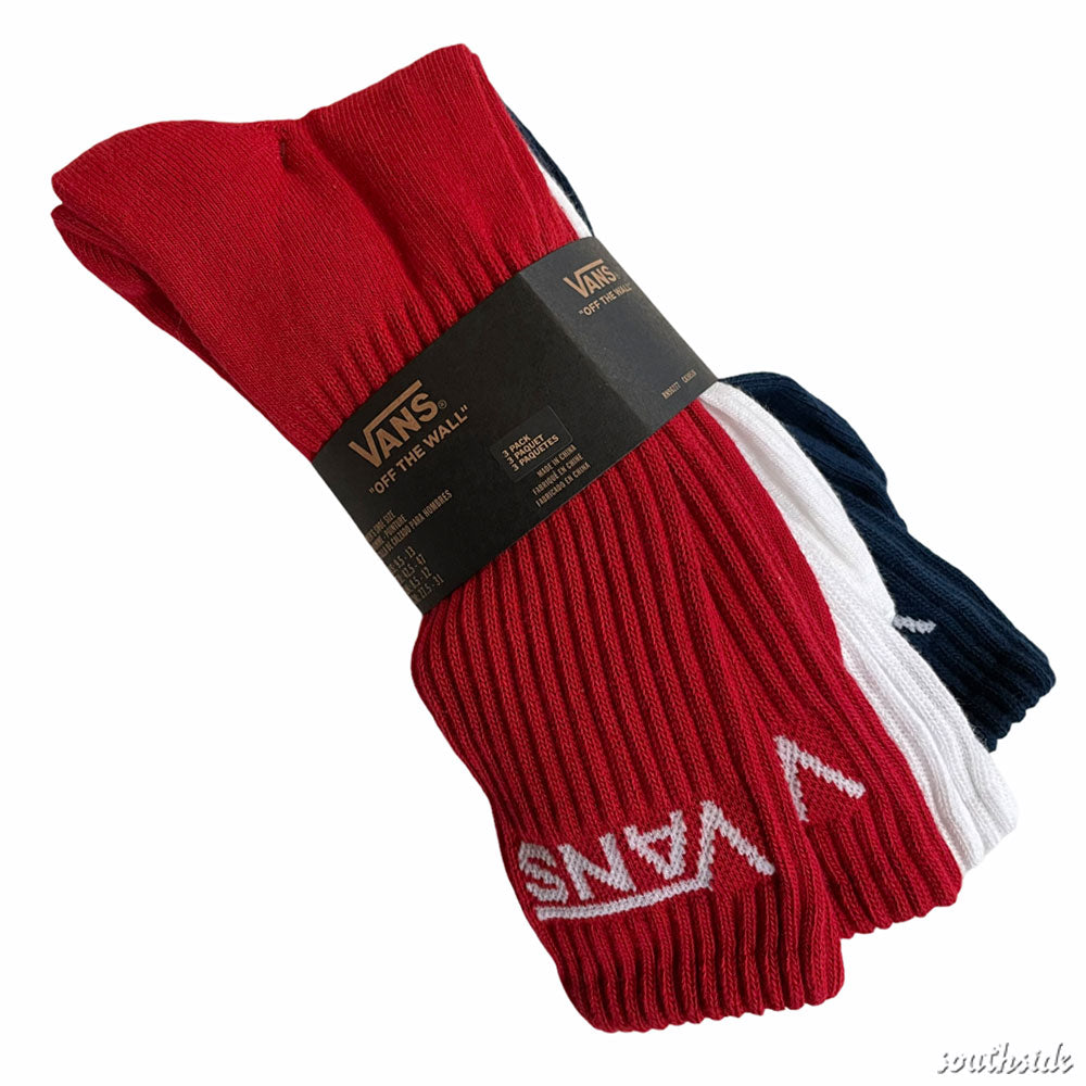 Vans Socks Crew 3 Pack Multi Red White Navy