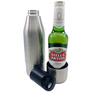 Stainless Glass Bottle Cooler Silver No More Warm Beer with Built in Opener and Seal
