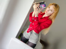 Load image into Gallery viewer, MelKimBrown mirror selfie with red satin shirt and black tights MelKimBrown - worn panty seller - used panties Mel Kim Brown MelKim Brown Mel KimBrown Mel Brown