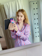 Load image into Gallery viewer, melissa in smiling melspanties.co.uk mirror selfie with purple satin shirt  by MelKimBrown - worn panty seller - used panties Mel Kim Brown MelKim Brown Mel KimBrown Mel Brown