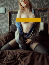 Load image into Gallery viewer, melissa crouched on bed with breasts exposed in suspender tights with blue satin shirt open on bed  by MelKimBrown - worn panty seller - used panties Mel Kim Brown MelKim Brown Mel KimBrown Mel Brown