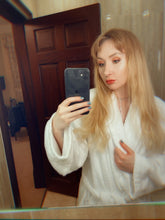 Load image into Gallery viewer, melissa in bathroom mirror selfie in only white towel robe  by MelKimBrown - worn panty seller - used panties Mel Kim Brown MelKim Brown Mel KimBrown Mel Brown