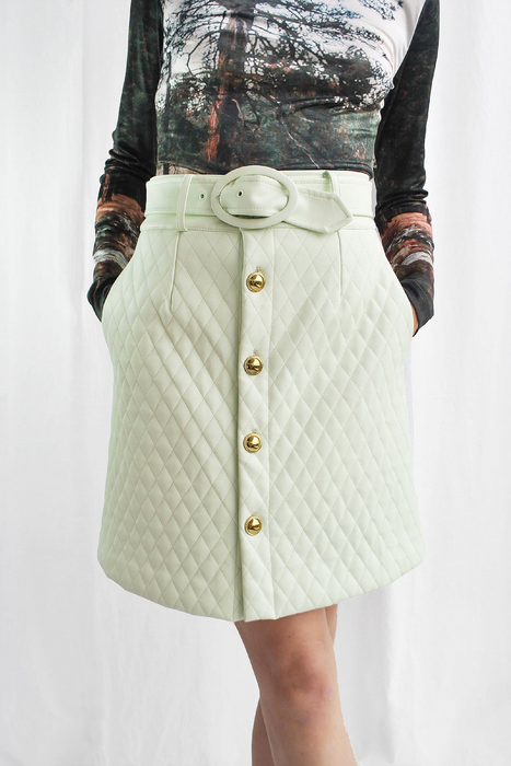 Mid Century Quilted Mini Skirt in Mint