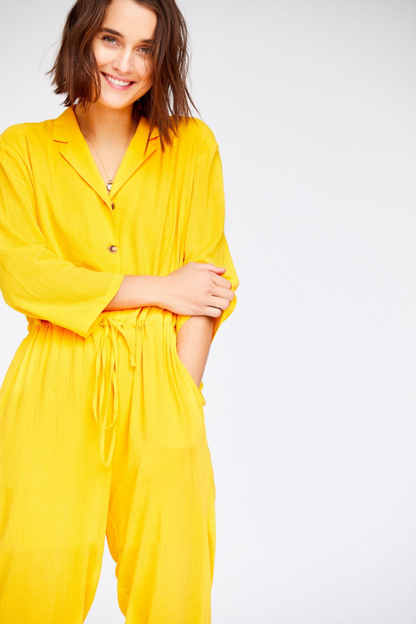 Patti Jumpsuit in Canary Yellow