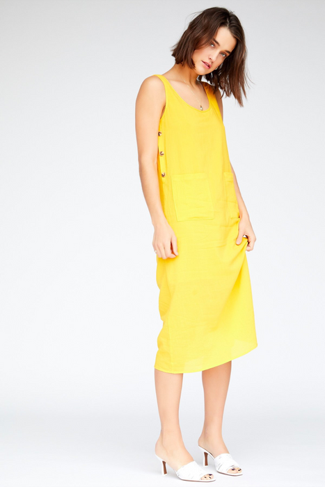 Pippa Dress in Canary Yellow