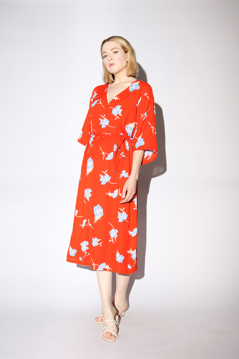 Johanna Dress in Orange Poppy Flower