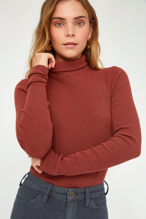 Sweater Rib Turtleneck in Sienna