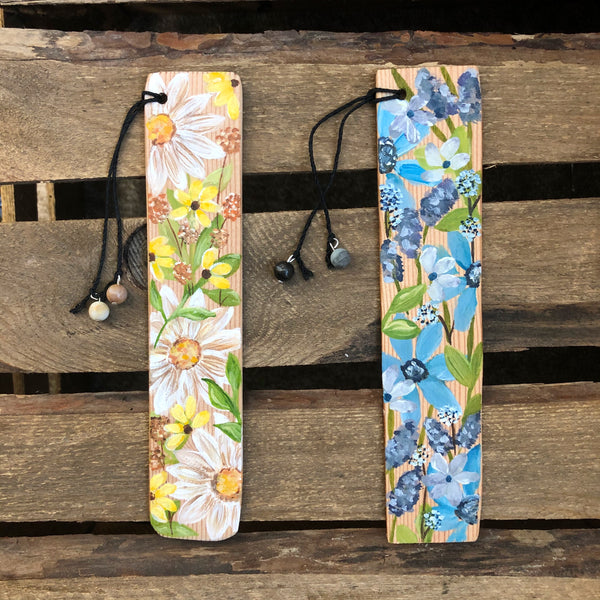 Floral Hand Painted Wooden Bookmarks
