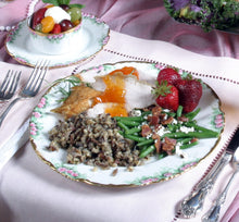 Load image into Gallery viewer, Sliced breast of turkey with Apricot Amaretto Sauce, wild rice and mushroom bake, green beans with bacon and blue cheese and a colorful strawberries/fruit with devonshire cream