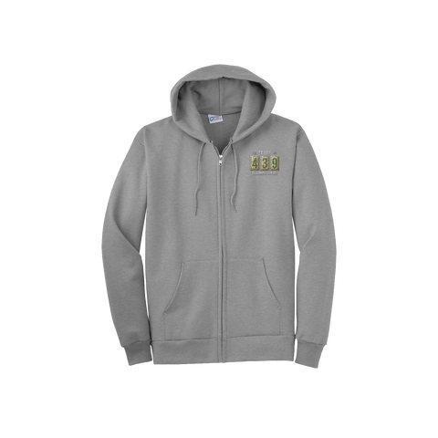 Troop 439 - Fleece Embroidered Full-Zip Hooded Sweatshirt, Olive Logo (Pre-Order 1190)