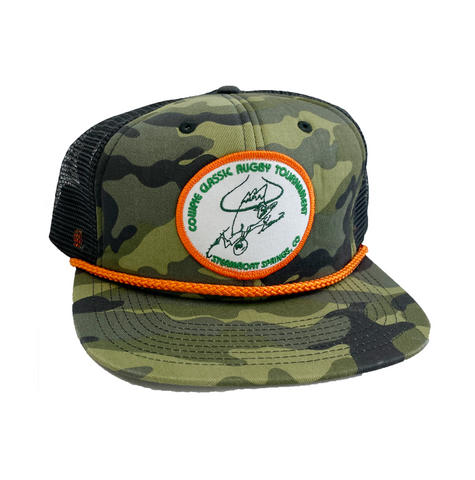 CowPie Retro Patch Hat - Camo/Orange