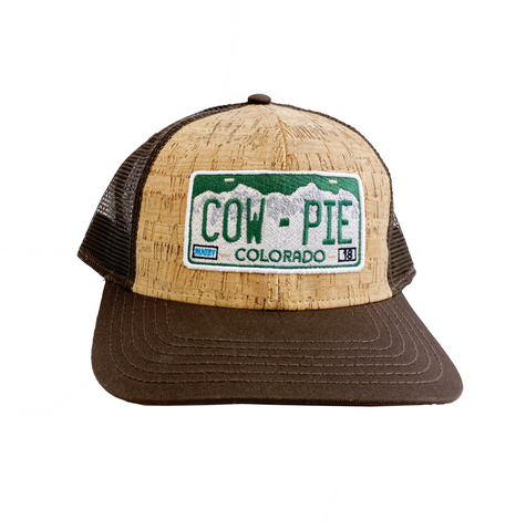 CowPie License Plate Cork Cap - Brown/Tan