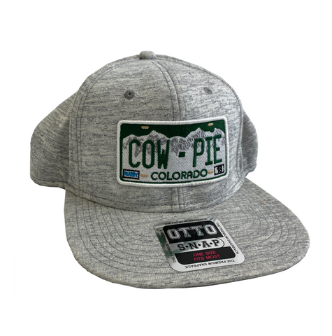 CowPie License Plate Heathered Snapback Hat - Light Grey
