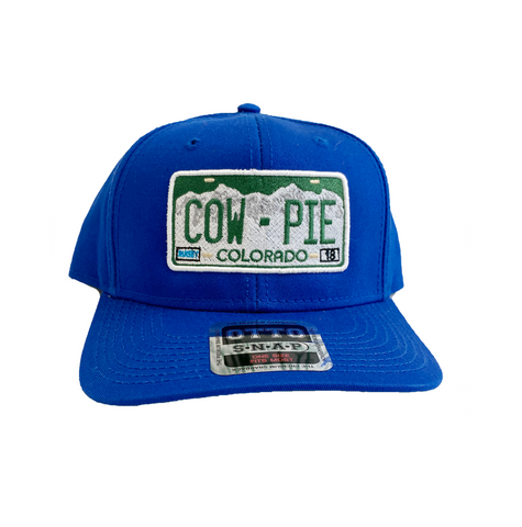 CowPie License Plate Snapback Hat - Royal Blue