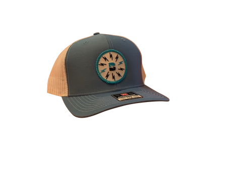 Booshie Bolts Patch Trucker Cap - Carolina/White
