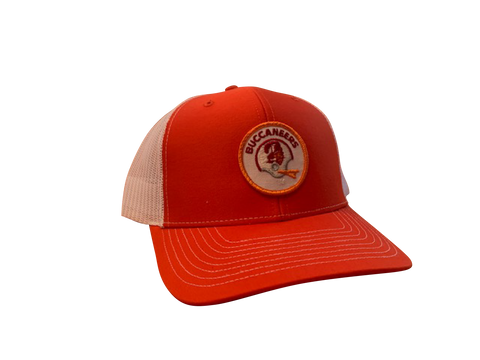 Tampa Bay Buccaneers Patch Trucker Cap - Orange/White