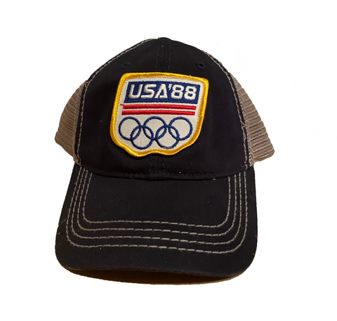 USA Olympics 1988 Patch Trucker Cap - Navy/Grey