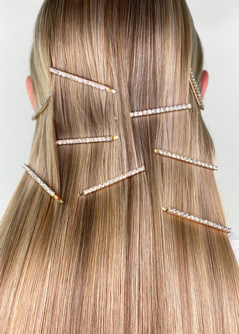 Straight Hair - Diamante Hair Clips - Hair Accessories Australia - BEAU MANE