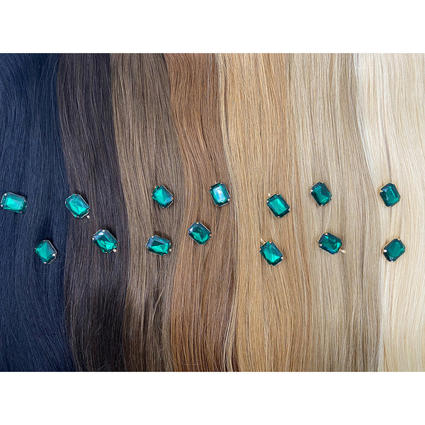 Hair Colour Chart - Green Rhinestone Hair Clip - BEAU MANE