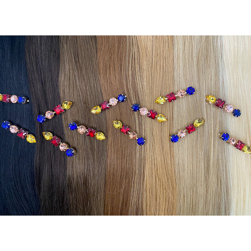 Hair Colour Chart - Mixed Blue Rhinestone Hair Clip - Beautiful Hair - BEAU MANE