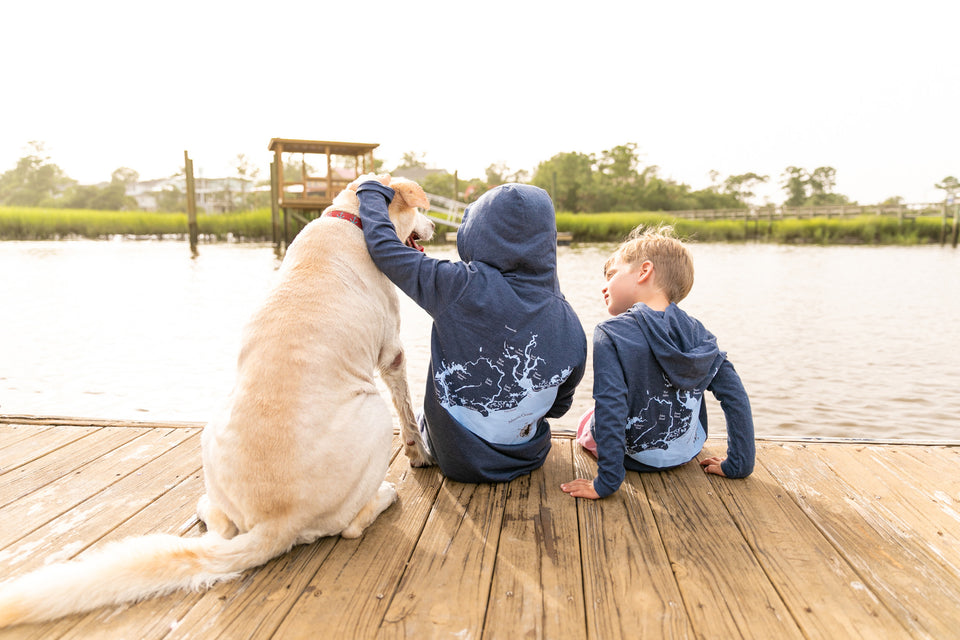 Local Dog Youth and Toddler Apparel T-shirt 2 boys on dog with a dog