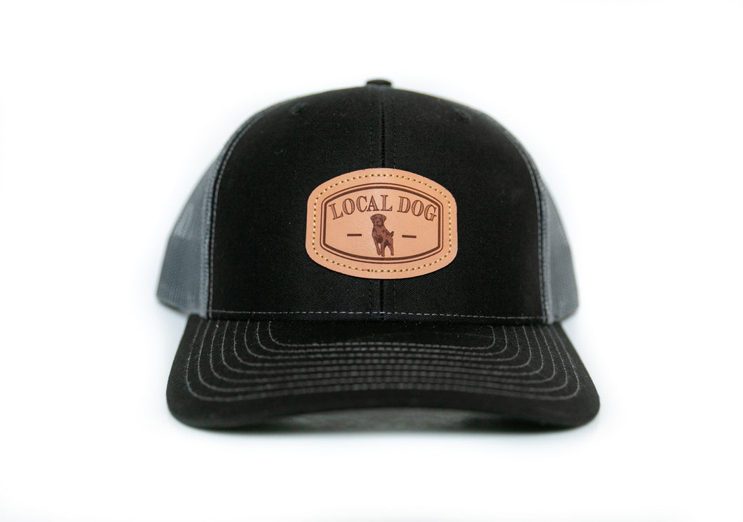 Black Trucker Hat with local dog leather patch