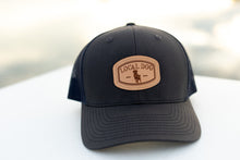 Load image into Gallery viewer, Charcoal with Navy Mesh Back Trucker Hat with local dog leather patch
