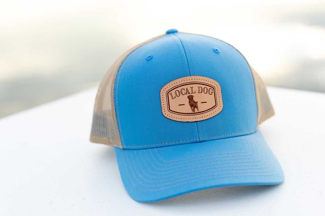 Columbia Blue Trucker Hat with local dog leather patch