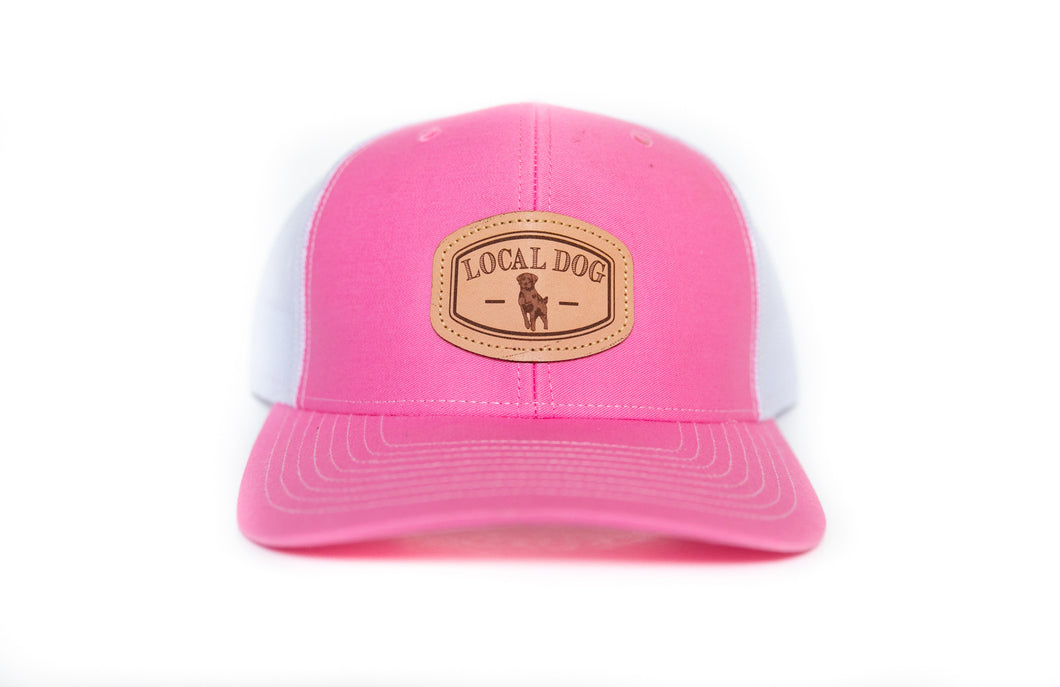 Pink Trucker Hat with local dog leather patch