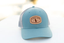 Load image into Gallery viewer, Smoke Blue Trucker Hat with local dog leather patch