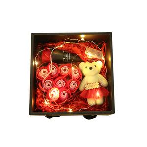Lighted Rose Soap Bear Gift Box Creative Led Light String Preserved Flower Christmas Valentine's Day Gift Wedding Room Decor