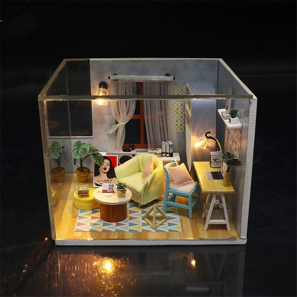 Wooden doll House furnitures kids diy dollhouse miniatures with LED light  3D kit birthday Gift house model toys for children