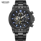 MEGIR 2019 Men's Business Quartz Watches Army Sports Chronograph Wristwatch Man Top Brand Luxury Relogios Masculinos 2108 Black