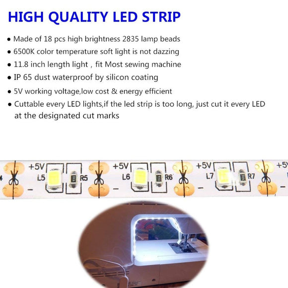 Sewing Machine LED Light Strip Light Kit 11.8inch DC5V Flexible USB Sewing Light 30cm Industrial Machine Working  LED Lights