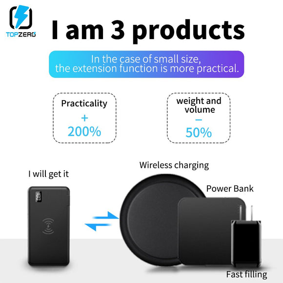10000 mAh Power Bank LED Display 18W PD Quick Charge 3.0 Fast Charging Wireless Power Bank For iPhone Samsung External Battery