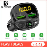 FLOVEME USB Car Charger For Phone Bluetooth Wireless FM Transmitter MP3 Player Dual USB Charger TF Card Music HandFree Car Kit